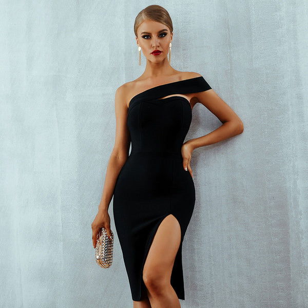 One Shoulder - Midi Bodycon Dress - PengThingss
