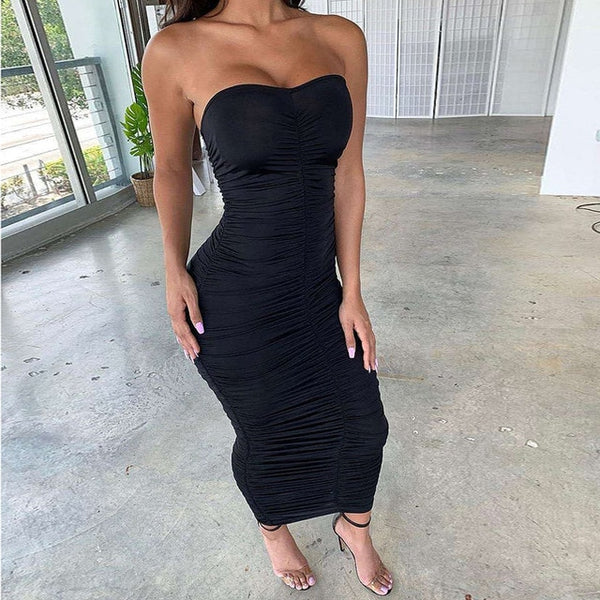 Off The Shoulder - Ruched Bodycon Maxi Dress