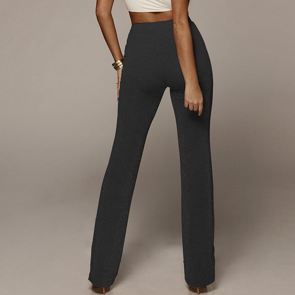 Black Glitter High Waist Wide Leg Trousers