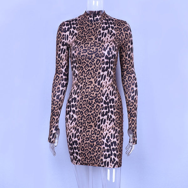 Long Sleeves - High Neck Leopard Print - Bodycon Dress - PengThingss