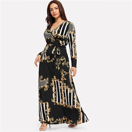 Womens - Plus Size - Printed Long Sleeves - A Line Maxi Dress - PengThingss