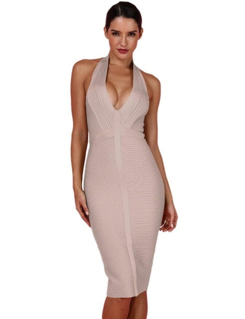 Halter / V Neck Bodycon Bandage Dress - PengThingss - PengThingss