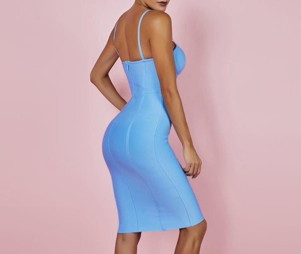 Womens - Spaghetti Strap - Bandage Sleeveless Bodycon Party Dress - Black/Aqua Blue/Pink/White - PengThingss