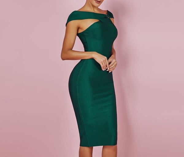Womens - Off Shoulder Sleeveless - Knee Length - Party Bodycon Bandage Dress - PengThingss