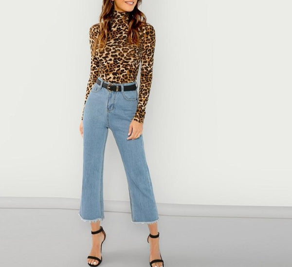 Womens - Long Sleeves High Neck Leopard Print Top - PengThingss
