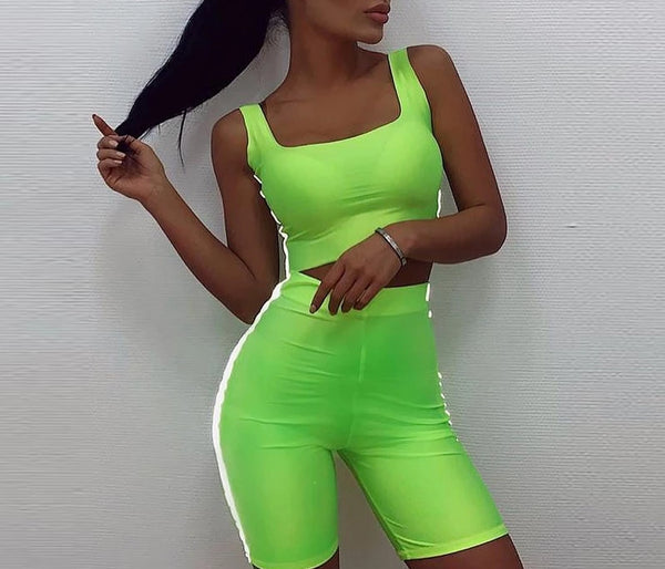 Spaghetti Strap - Reflective Crop Top & High Waisted Shorts Set - PengThingss