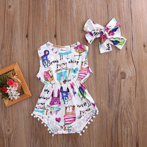 Lovely Painting Sunsuit with Headband Baby/Toddler