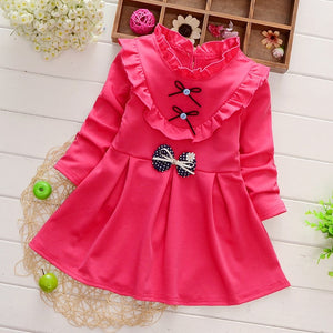 Long Sleeve Floral Bow Dress Baby/Toddler