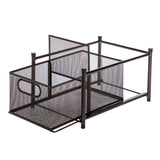 Under Sink Sliding Basket Kitchen Organizer | Pull-Out Basket for Kitchen Counter and Under Cabinet | Horizontal Divider (Oil-Rubbed Bronze)