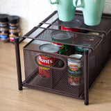 Under Sink Sliding Basket Kitchen Organizer | Pull-Out Basket for Kitchen Counter and Under Cabinet | Vertical Divider (Oil-Rubbed Bronze)