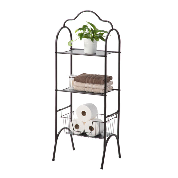 Bathroom Storage Rack with Basket Shelving, 3-Tier (Oil-Rubbed Bronze)
