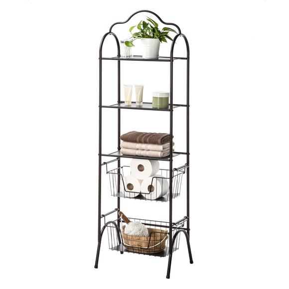 Bathroom Storage Rack with Basket Shelving, 5-Tier (Oil-Rubbed Bronze)