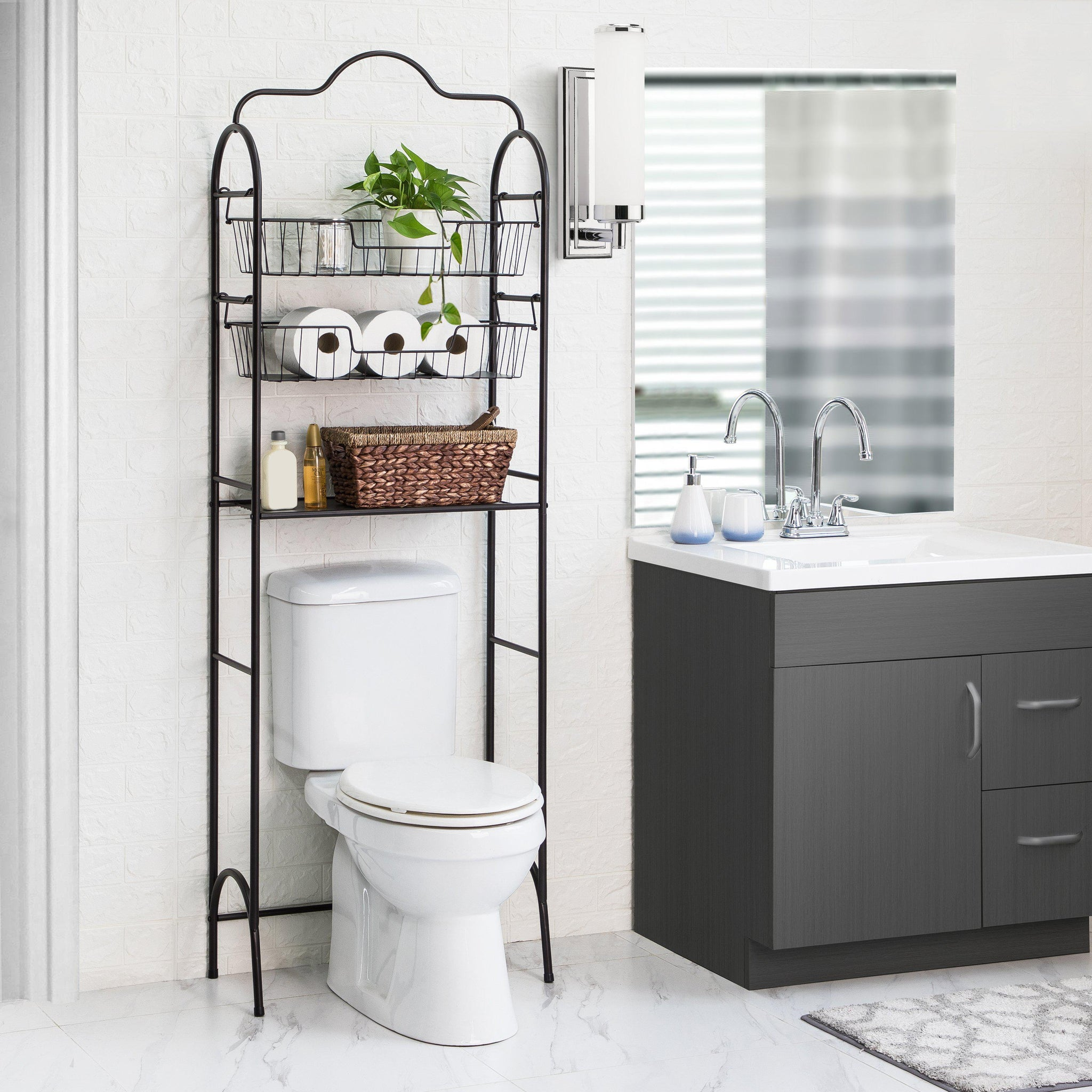 Over The Toilet Bathroom Storage Rack With Basket Shelving Cal7000u Home Zone Living