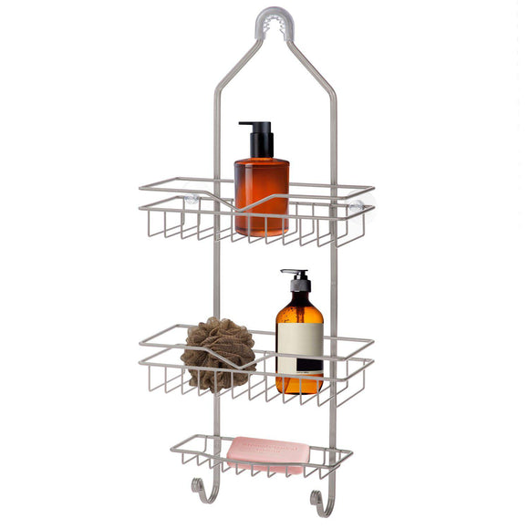Shower Caddy with Soap Tray and 2-Hooks (Satin Nickel)