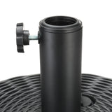 40lb Round Fillable Patio Umbrella Base Stand, 18in, Fills w/ Water or Sand (Black)