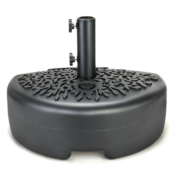40lb Half-Round Fillable Patio Umbrella Base Stand, 18in, Fills w/ Water or Sand (Black)
