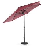 10ft Tilting Patio Umbrella, Instant Up & Down, Easy Crank Free Design w/ Push Button Tilt (Burgundy)