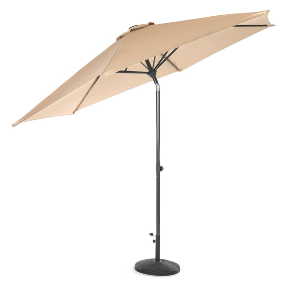 10ft Tilting Patio Umbrella, Instant Up & Down, Easy Crank Free Design w/ Push Button Tilt (Tan)