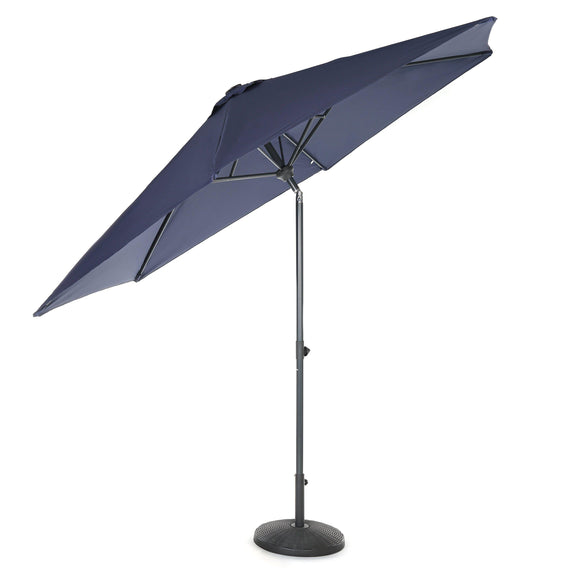 10ft Tilting Patio Umbrella, Instant Up & Down, Easy Crank Free Design w/ Push Button Tilt (Navy Blue)