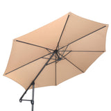 10ft Offset Cantilever Patio Umbrella, Instant Up & Down Design, Easy Crank Free Design w/ 360° Swivel