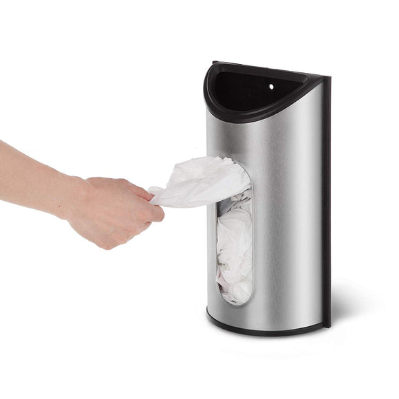 Grocery Bag Dispenser, Stainless Steel, Wall Mount
