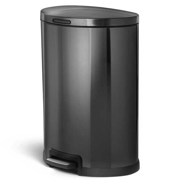45 Liter / 12 Gallon Stainless Steel Kitchen Trash Can, Semi-Round (Black)