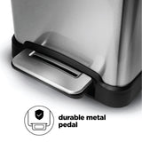 12 Gallon Kitchen Trash Can, Slim Stainless Steel, Step Pedal, 45 Liter