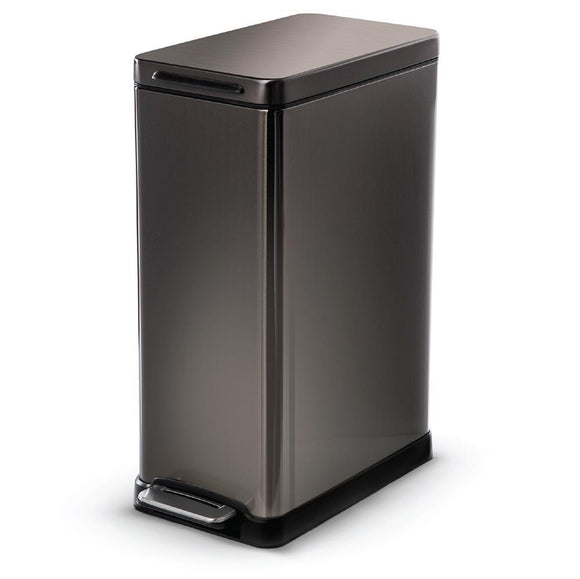 45 Liter / 12 Gallon Stainless Steel Rectangular Pedal Bin (Black)