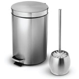1.8 Gallon Bathroom Trash Can and Toilet Brush Combo, Stainless Steel, 7 Liter