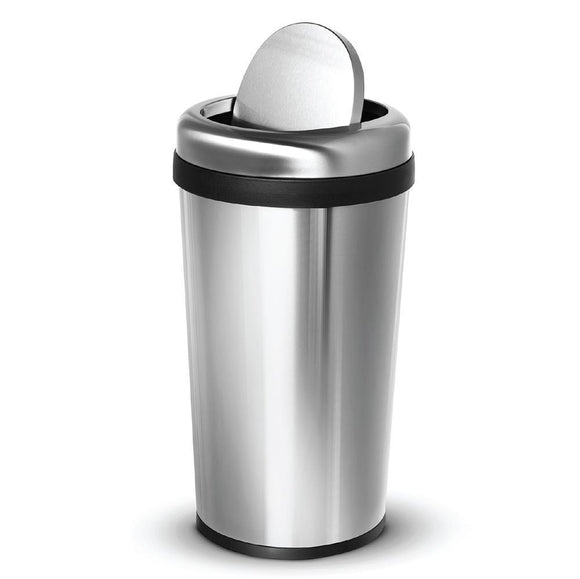 12 Gallon Kitchen Trash Can, Round Stainless Steel, Swing Top Lid, 45 Liter