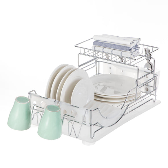 Dish Drying Rack with Drain Board, 2-Tier