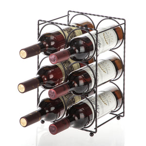 Tabletop Wine Storage Rack, Holds up to 6 Bottles (Rustic)