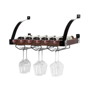 Wall Mounted Wine Rack, Holds up to 6 Bottles (Dark Walnut)