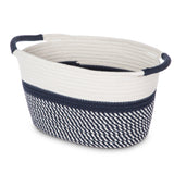Woven Basket for Home Storage with 2 Cotton Rope Handles