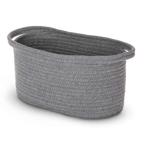 "Woven Basket for Home Storage with 2 Cotton Rope Handles, 100% Cotton, 14.00"" x 7.00"" x 7.00"""