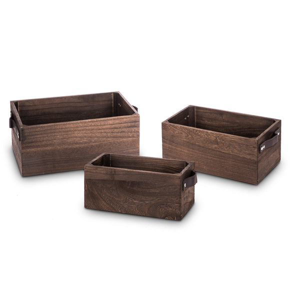 Wooden Crate Storage Set, Nested Set of 3 with PU Leather Handles