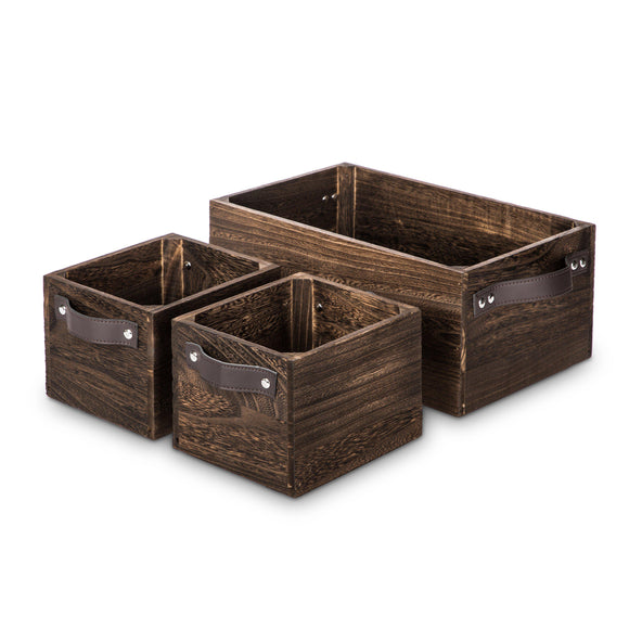 Wooden Crate Storage Set, Stackable and Nested Set of 3 with PU Leather Handles