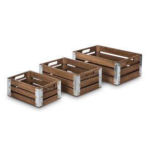 Wooden Crate Storage Set, Nested Set of 3 with Cutout Handles and Metal Plated Edges