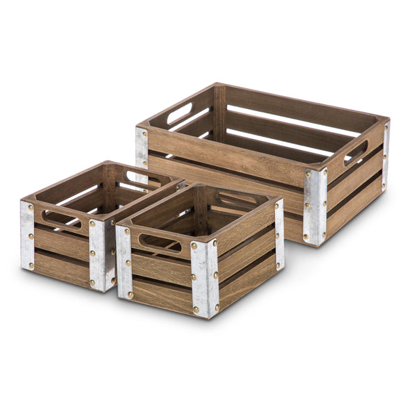Wooden Crate Storage Set, Stackable and Nested Set of 3 with Cutout Handles and Metal Plated Edges
