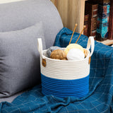 "Small Storage Basket, Woven Cotton with Handles, 11.81"" x 9.84"" x 9.06"""