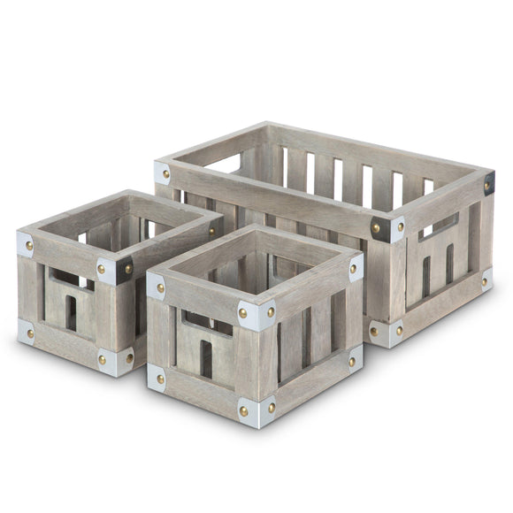 Wooden Crate Storage Set, Stackable and Nested Set of 3 with Cutout Handles and Metal Plated Corners
