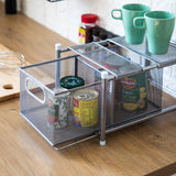 Under Sink Sliding Basket Kitchen Organizer | Pull-Out Basket for Kitchen Counter and Under Cabinet | Horizontal Divider (Satin Nickel)