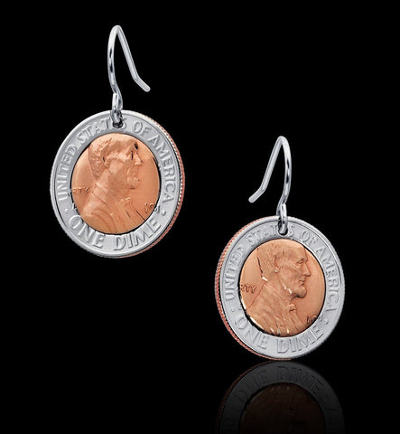 Unique Dime Penny Coin Earrings Jewelry