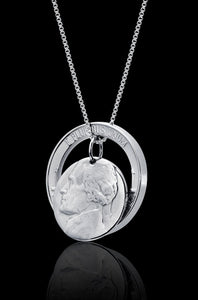 Unique Interactive Nickel Coin Necklace Jewelry Rhodium Plated Sterling Silver Box Chain