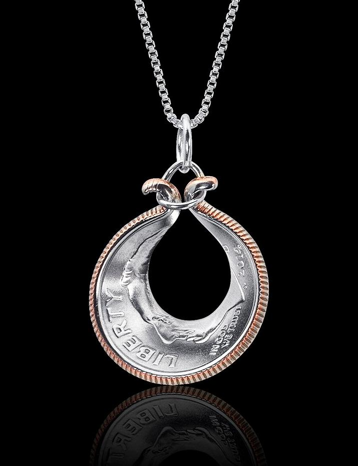 Dime Necklace  Unique Coin Jewelry Liberty Rhodium Plated Sterling Silver Box Chain