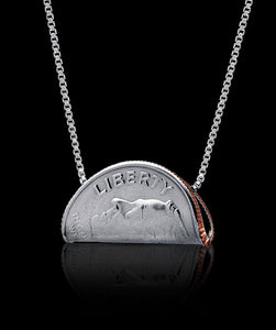 Unique Dime Coin Necklace Jewelry Liberty Taco Rhodium Plated Sterling Silver Box Chain