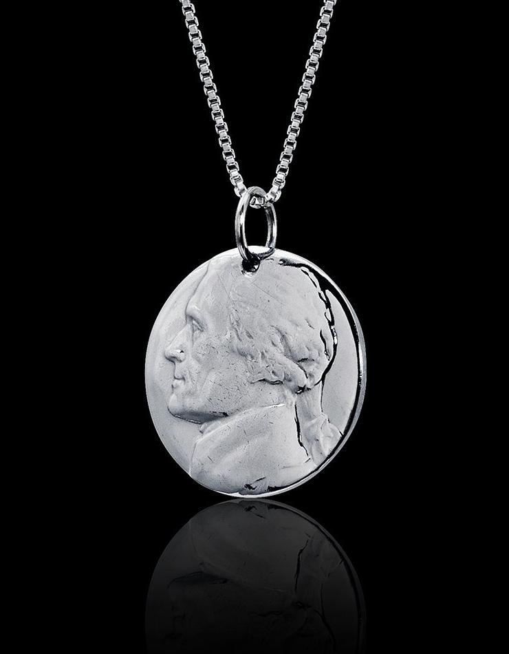 Unique Nickel Coin Necklace Jewelry Rhodium Plated Sterling Silver Box Chain