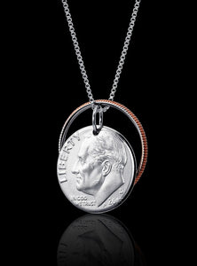 Unique Interactive Dime Coin Necklace Rhodium Plated Sterling Silver Box Chain