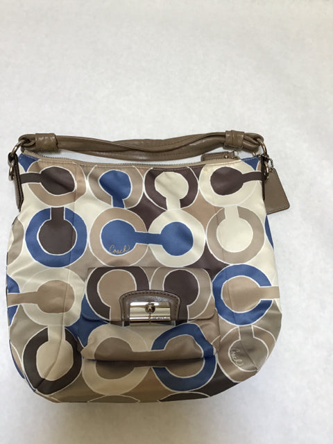Coach Size Large tan/blue Purse