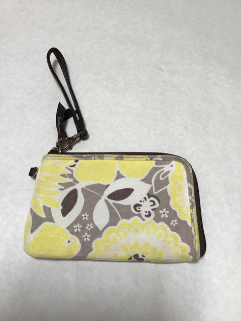 Thirty One Size Small yellow/brown print Wristlet